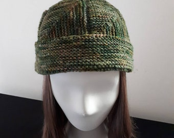 Hand spun, hand knitted beanie, adult size
