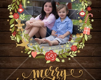 Custom Rustic Christmas Card with Wreath