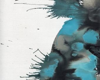 Blue Black Abstract Art Print