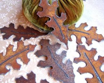 Oak Leaves Shabby Chic Table Decor -- Fall Table Decorations -- Wedding Decor -- Garland DIY -- Oak Leaf Rustic Decor