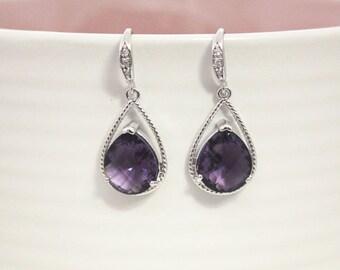 february birthstone earring,Amethyst purple crystal drop earring, Gorgeous Drop ,stone in twisted bezel
