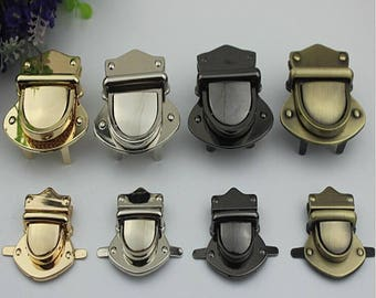 6 sets  34*39mm、50*57mm metal bag thumb lock, bag closure in gold/gun-metal/brass/silver hardware wholesale  ks-692