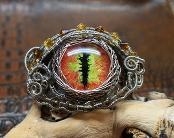 Hand painted dragon eye wire wrapped cuff bracelet