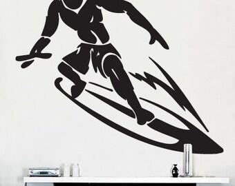 Vinyl Wall Decal Sticker Surfer Surfing Wave BIG 41x35 item 254A