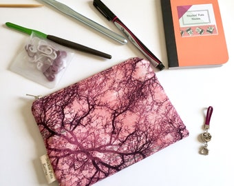 Pink forest notions pouch zipper pouch