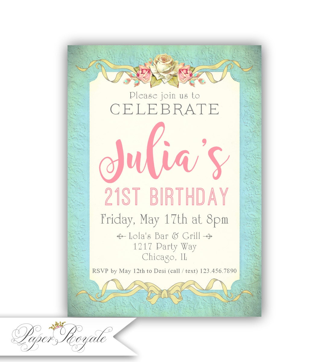 21st Birthday Invitation Floral 21st Birthday Invite 21st