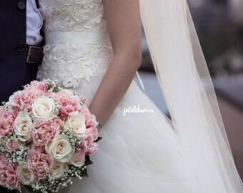 Ivory, White, Bridal Veil, Sheer Single Tier Veil, Chapel Length Veil, Cathedral Length Veil, Floor Length Wedding Veil, Tulle Wedding Veil