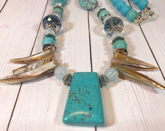 Natural Shell and Turquoise Pendant