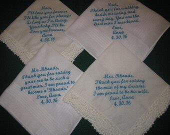 EmbroideredWeddingHandkerchiefsParentsoftheBride&GroomGiftsWeddingGiftsSet of 4 205s FREE SHIPPING in US