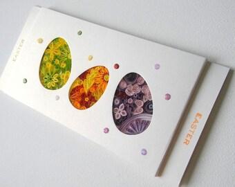 Easter eggs, Easter card with eggs, Handmade Easter card, Easter Greeting card, Happy Easter card, Easter gift, Easter Quilling card, Eggs