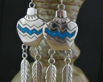Inlaid Mosaic Turquoise Silver Feather Long Earrings, Western Turquoise Earrings, Southwest Turquoise Jewelry, Indian Style Jewelry