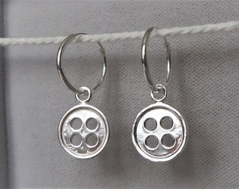 Sterling Silver Button Hoop Earrings 25mm x 11mm.