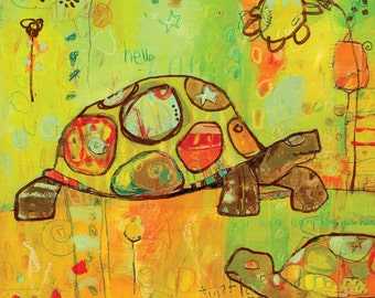 Hello Turtles Canvas Print by Jennifer Mercede  14X14