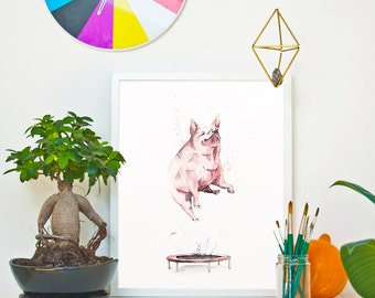 TRAMPOLINE - The Pig  *Limited Edition Giclée Print on Watercolour Paper - 300gsm.