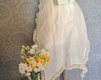 Delightful 1920s Embroidered Apron, Pale Blue on Crisp Off White Batiste, Silk Ribbon Ties