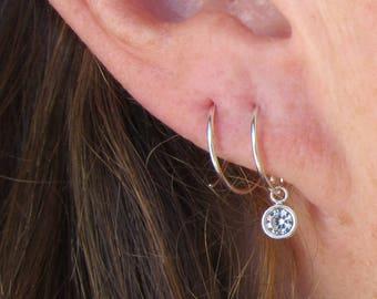 Double Hoop Earrings with Cubic Zirconia Charm/ Sterling Silver Hoops/ Earrings for Two Piercings/ CZ Hoops/ Double Piercing