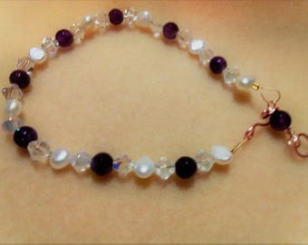 Amethyst, Pearls and Crystals Bracelet