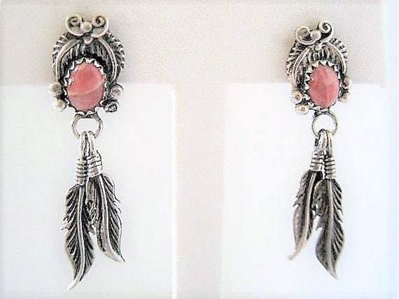 Native American Earrings, Pink Agate Stones, Sterling  Feathers, Boho Pierced Dangles