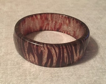 Vintage Bangle Bracelet - Plastic - Black Brown Glittery Style - Zebra Print