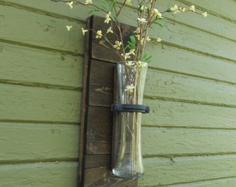 Vase Sconce. Wood Wall Sconce. Rustic Vase Sconce. Stained Wood Sconce. Flower Vase Sconce. Reclaimed Wood Sconce. Shabby Chic Sconce.