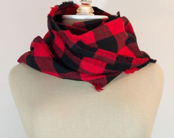 Flannel Scarf | Buffalo Plaid | Buffalo Plaid Scarf | Plaid Flannel Scarf | Red and Black Plaid | Buffalo Plaid Flannel Scarf | Mens Scarf