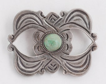 Vintage Pin - Vintage Old Pawn 980 Silver Taxco Turquoise Pin