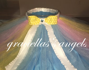 colorful tutu with yellow bow and swavorski crystal center