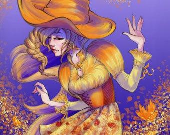 Autumn witch, original art print, poster