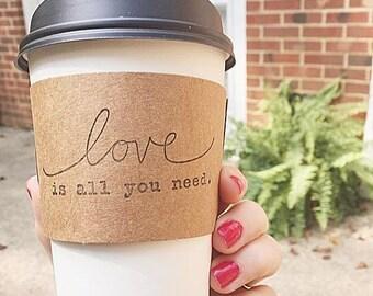 Coffee Sleeve Kraft Wedding Bar Coffee Bar Love is All You Need Hot Chocolate Bar Event Decor Set of 25