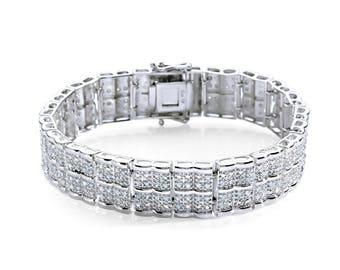 Rhodium Plated 2.00Cttw. Diamond Straight Line Bracelet