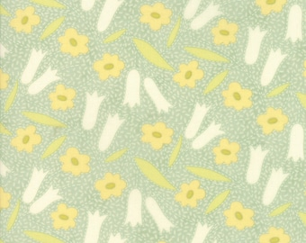 Ella and Ollie - Buttercups in Pond: sku 20301-14 cotton quilting fabric by Fig Tree and Co. for Moda Fabrics