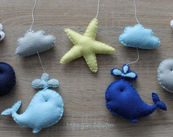 Sale! Whale mobile star fish clouds blue navy grey yellow musical whale mobile cloud nursery