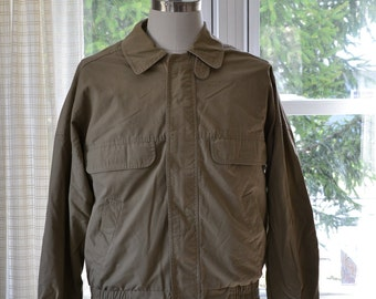 Sz M London Fog Men's Golf Jacket Vtg 1980s Casual Lightweight Jacket Madras Plaid Cotton Lined Tan Brown Medium Regular Men's Light Coat