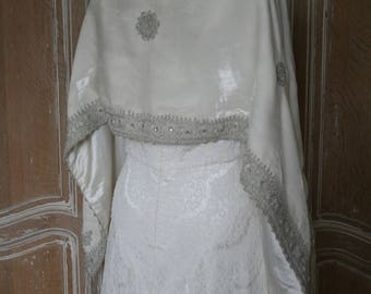 Vintage Velvet Embroidered shaw . Bridal Cover Up