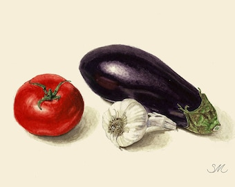 Eggplant Tomato Garlic Still Life | Small Art | Kitchen Art