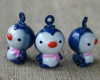 3pcs Jingle Bell Penguin Charms Brass Enamel 21x15mm Christmas Decor