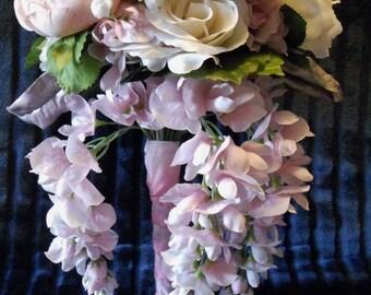 bouquet, wedding, bride, roses, pink, boho, Bohemian, boutonniere,cascading