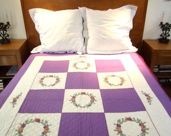 antique patchwork quilt 1950s 60s shabby chic decor purples green quilting