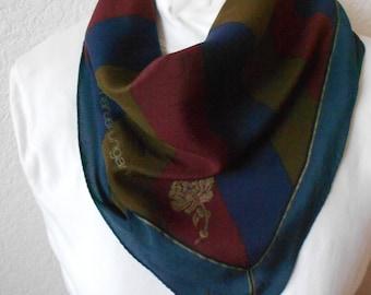 Emanuel Ungaro silk scarf diagonal stripes burgundy rust blue size 22.5 X 22.5/