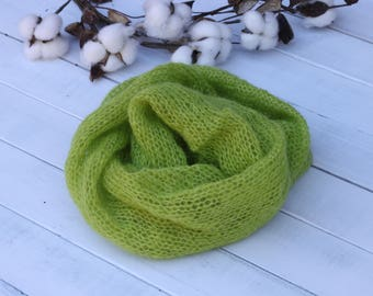 knitted mohair wrap,lime green mohair wrap