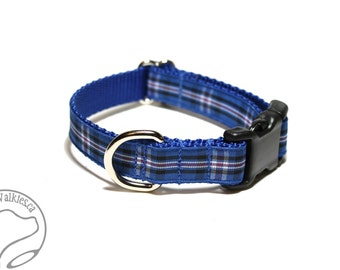 """Rangers Tartan Dog Collar - FC Plaid - 3/4"""" (19mm) wide - Choice of collar style and size - Martingale Dog Collars or Quick Release Buckle"""