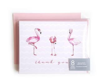 Thank You Cards // Note Cards // Notecards // Blank Notecards // Boxed Notecards // Notecard // Stationery // Flamingos