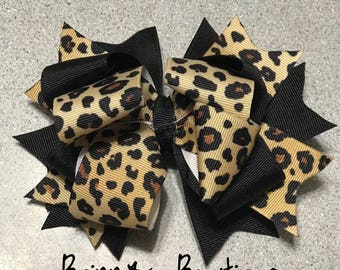 Cheetah stacked hair bow on barrette