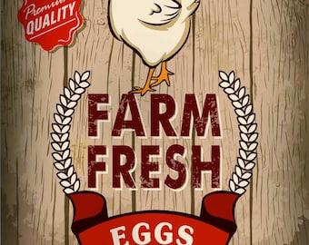 Farm Fresh Eggs, Metal Sign, No.328