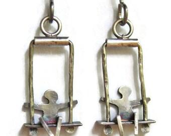 Silver People on Swing Earrings Shorter Version