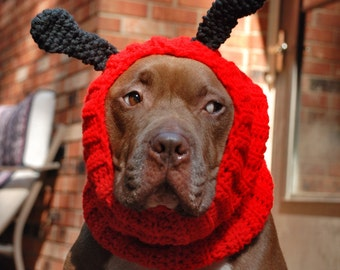 Ladybug Dog Snood Crochet MADE TO ORDER