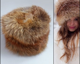 Fox Fur Hat / Vintage 70s Fur Hat