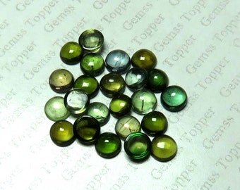 5mm 6mm 7mm Green Tourmaline Cabochon Round loose gemstone - Natural Green Tourmaline Cabs Light Green - Dark Green Tourmaline - FOR ONE