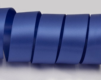 "Royal Blue Ribbon, Double Faced Satin Ribbon, Widths Available: 1 1/2"", 1"", 6/8"", 5/8"", 3/8"", 1/4"", 1/8"""