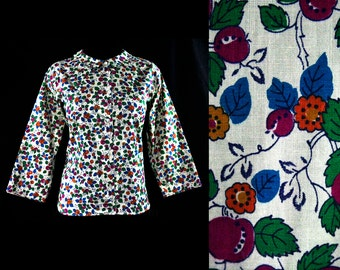 Size 10 Cotton Shirt - 1960s Novelty Print Plums Tailored Top - Long Cuffable Sleeves - Classic Mid Century Blouse - 60s Deadstock - 44579-1